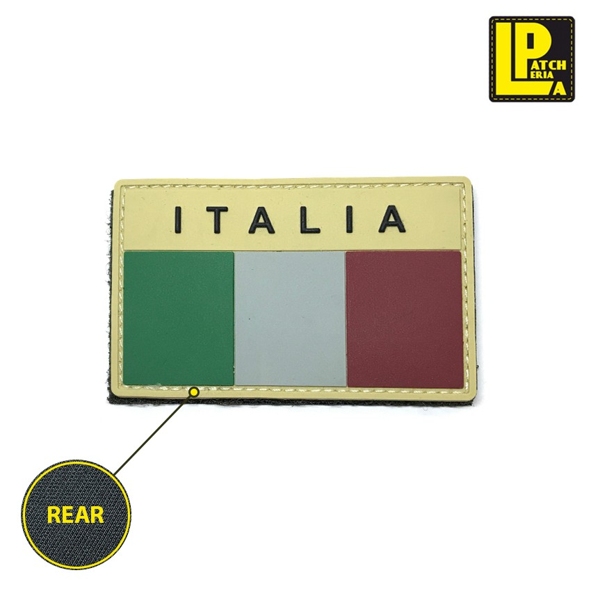 MILITARY MORALE PATCH PVC DESERT ITALY FLAG LOW VIS